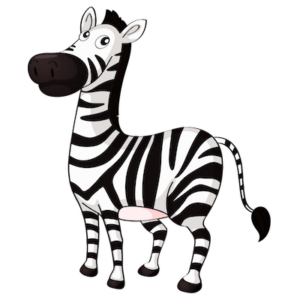 animal_cartoon_white_black_zebra_clipart