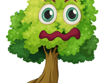 Confounded face green tree clipart
