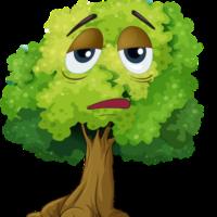 sad face cartoon tree clipart