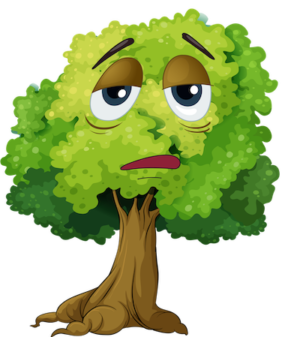 sad face cartoon tree clipart