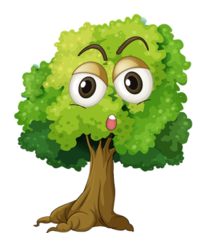 Green forest surprised face tree clipart