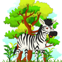 free_download_zebra_standing_under_tree_clipart