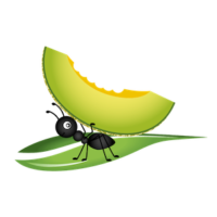 vector_cartoon_ant_carring_fruit_clipart