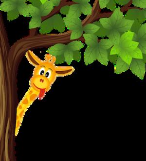 free_download_cartoon_giraffe_hiding_behind_tree_clipart