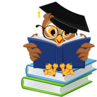 free_download_cartoon_owl_reading_book_school_vector