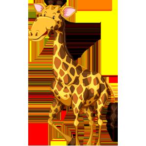 vector_cute_cartoon_standing_giraffe_clipart