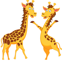 download_vector_funny_cartoon_giraffe_couple_clipart_image