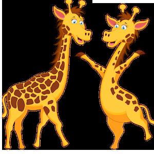 download_vector_funny_cartoon_giraffe_couple_clipart_image