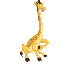 download_vector_funny_cartoon_giraffe_laughing_clipart_image