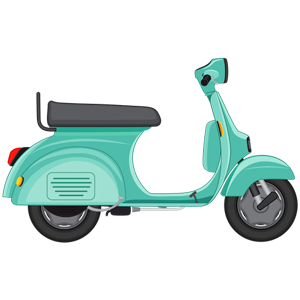free_download_green_cartoon_scooter_transportation_clipart