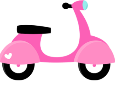 baby_pink_cartoon_scooter_free_clipart
