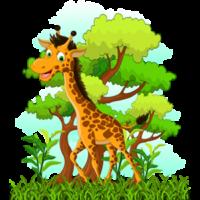 cute-laughing-giraffe-in-trees-clipart